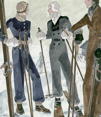 Illustration Of Three Women Wearing Ski Suits Poster