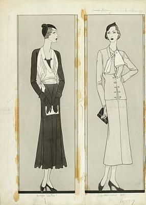 Illustration Of Two Women In Elegant Fashion Poster