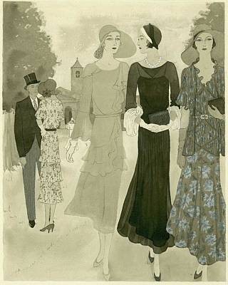Illustration Of Wedding Guests At A Country Poster by Barbara E. Schwinn