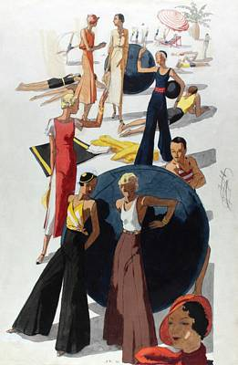 Illustration Of Women At A Crowded Beach Poster by Jean Pages