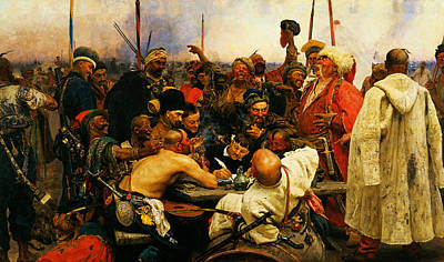 Ilya Repin 3 Reply Of The Zaporozhian Cossacks To Sultan Mehmed Iv Of Ottoman Empire1 Poster by MotionAge Designs