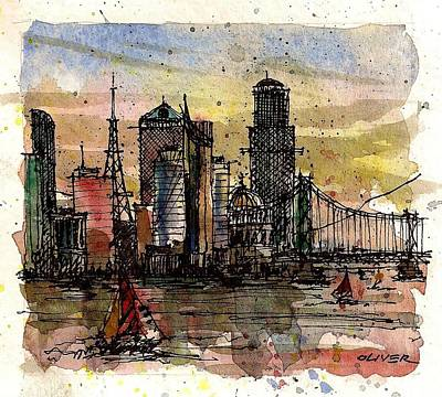 Poster featuring the mixed media Imaginary Skyline by Tim Oliver