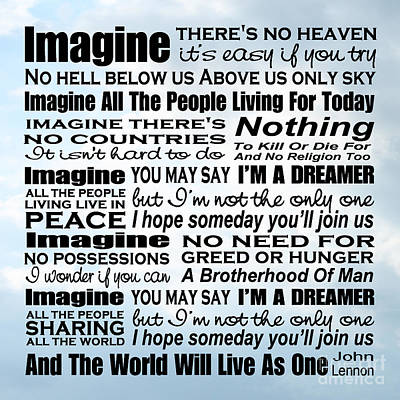 Imagine Song Lyrics - Sky Poster by Ginny Gaura