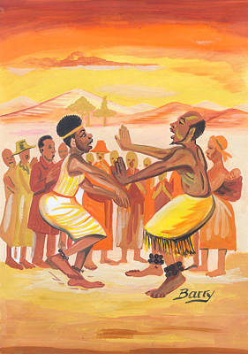 Poster featuring the painting Imbiyino Dance From Rwanda by Emmanuel Baliyanga