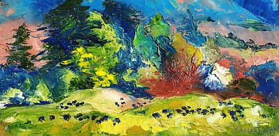 Impressionist Landscape With Cows Fine Art Oil Painting Poster