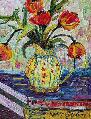 Impressionist Tulips In French Pottery Poster by Ginette Callaway
