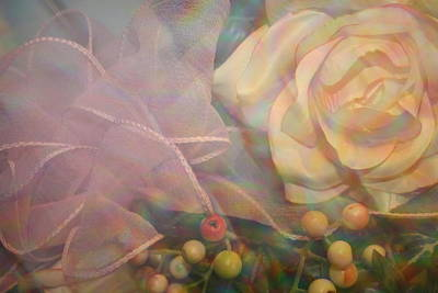 Poster featuring the photograph Impressionistic Pink Rose With Ribbon by Dora Sofia Caputo Photographic Art and Design