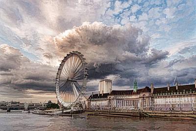 Impressions Of London - London Eye Dramatic Skies Poster by Georgia Mizuleva