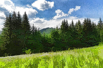 Impressions Of Mountains And Meadows And Trees Poster by Georgia Mizuleva