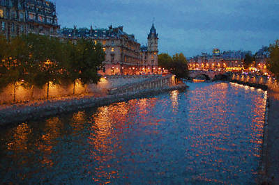 Impressions Of Paris - Shimmering Seine River At Night Poster by Georgia Mizuleva