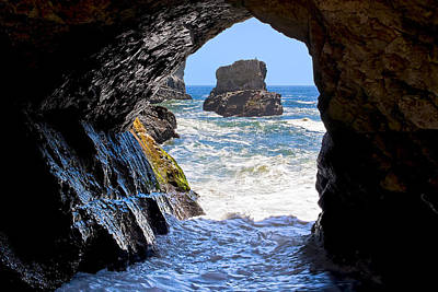 In A Cave By The Sea - Northern Caifornia Poster by Mark E Tisdale