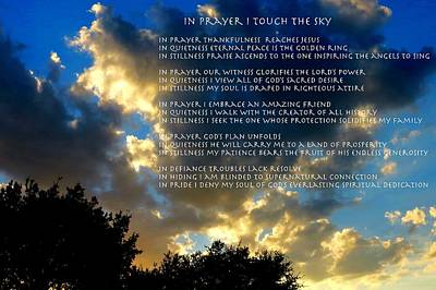 In Prayer I Touch The Sky Poster by David  Norman