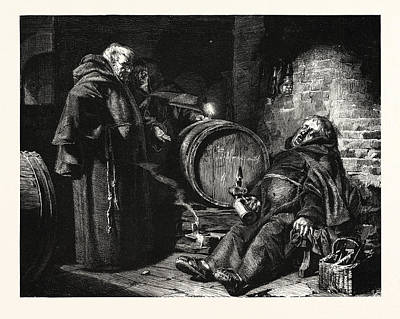 In The Cloister Cellar Poster by Gr?tzner, Eduard Theodor Ritter Von (1846-1925), German
