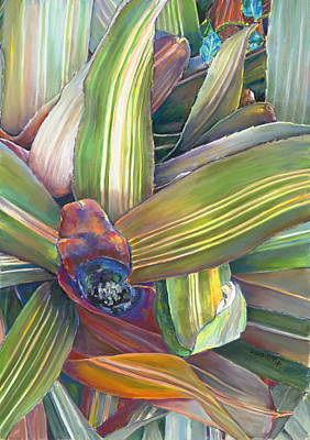 In The Conservatory - Bromeliad Poster by Nick Payne