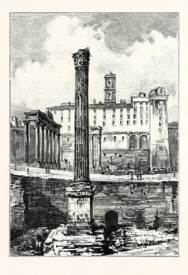 In The Forum Showing The Depth Excavated Rome Italy Poster by Italian School