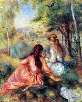 Poster featuring the painting In The Meadow by Pierre-Auguste Renoir