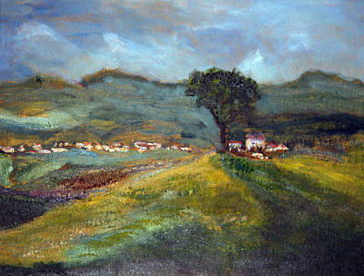 Poster featuring the painting In The Tuscan Hills by Michael Helfen