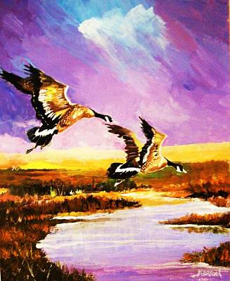 Poster featuring the painting Incoming Geese by Al Brown