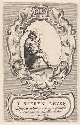 Incumbent Pipe-smoking Farmer, Pieter Nolpe Poster by Pieter Nolpe And Pieter Jansz. Quast And Nicolaes Visscher (i)