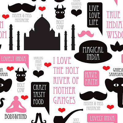 India Icons Illustration Poster by Little Smilemakers Studio
