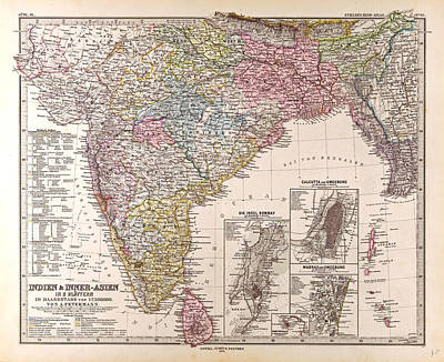 India Map Gotha Justus Perthes 1876 Atlas Poster by Indian School