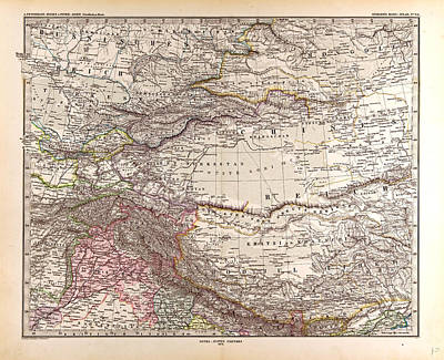 India Mongolia China Gotha Justus Perthes 1876 Atlas Poster by Chinese School