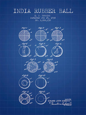 India Rubber Ball Patent From 1935 -  Blueprint Poster by Aged Pixel
