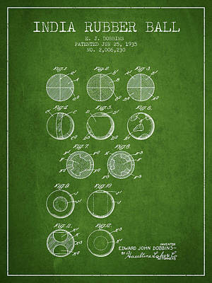 India Rubber Ball Patent From 1935 -  Green Poster by Aged Pixel