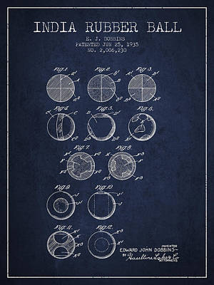 India Rubber Ball Patent From 1935 -  Navy Blue Poster by Aged Pixel