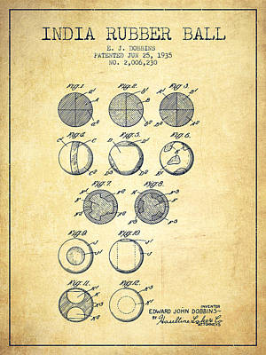 India Rubber Ball Patent From 1935 -  Vintage Poster by Aged Pixel