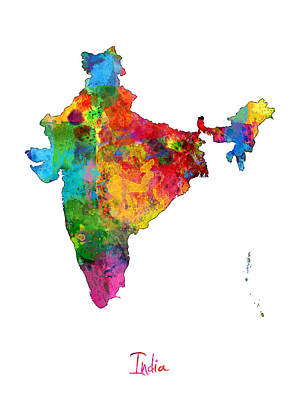 India Watercolor Map Poster by Michael Tompsett