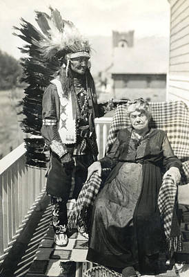 Poster featuring the photograph Indian Chief And Woman by Charles Beeler