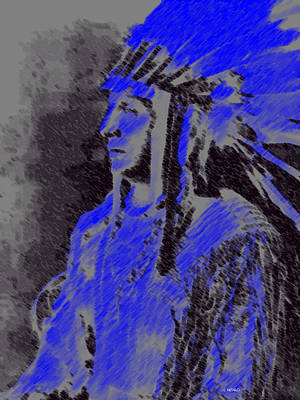 Poster featuring the pastel Indian Chief by George Pedro