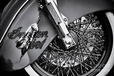 Indian Chief Spoked Wheel Monochrome Poster by Tim Gainey