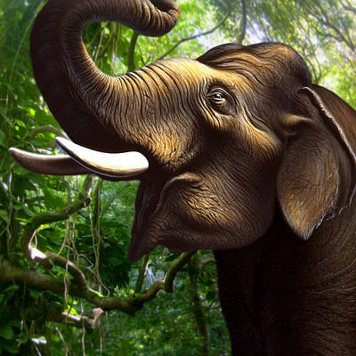 Indian Elephant 1 Poster by Jerry LoFaro