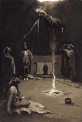 Indian Fire God. The Going Of The Medicine-horse Poster by Frederic Remington