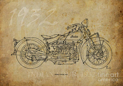 Indian Four 1932 Poster by Pablo Franchi