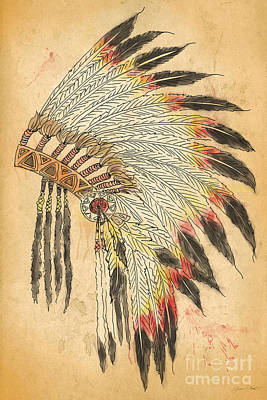 Indian Head Dress-b Poster by Jean Plout