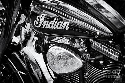 Indian Chief Motorbike Monochrome Poster by Tim Gainey