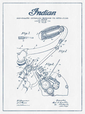 Indian Motorcycle Patent From 1904 - Blue Ink Poster