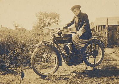 Poster featuring the photograph Indian Motorcycle Woman Rider by Paul Ashby Antique Images