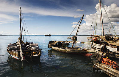 Indian Ocean Dhow At Stone Town Port Poster