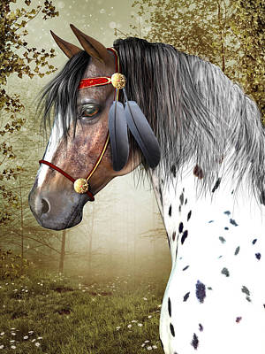 Poster featuring the digital art The Indian Pony by Jayne Wilson