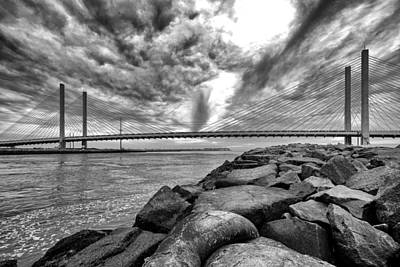 Indian River Bridge Clouds Black And White Poster