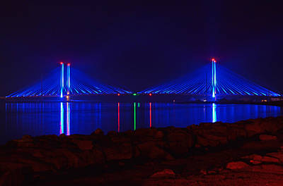 Poster featuring the photograph Indian River Inlet Bridge After Dark by Bill Swartwout