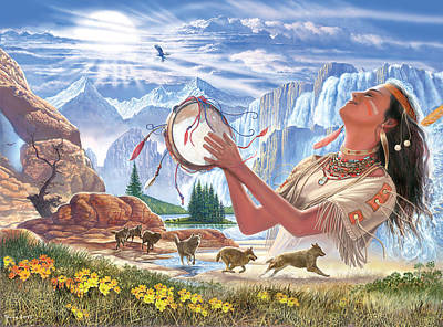 Indian Squaw And The Wolves Poster by Steve Crisp