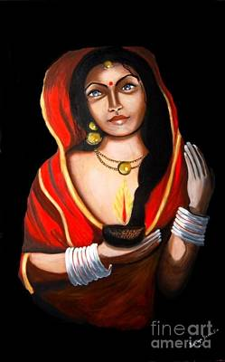 Poster featuring the painting Indian Woman With Lamp by Saranya Haridasan