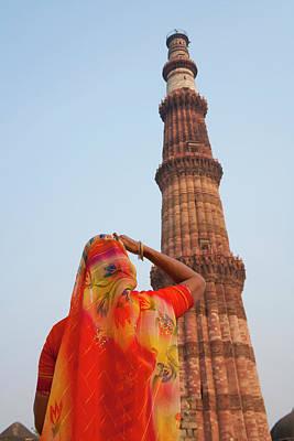Indian Women At Qutb Minar (unesco Poster by Keren Su