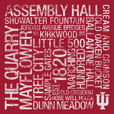 Indiana College Colors Subway Art Poster