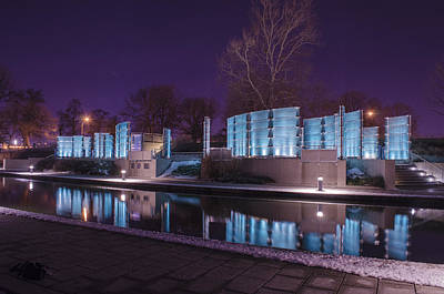 Indianapolis Canal Walk Medal Of Honor Memorial Night Lights Poster by David Haskett